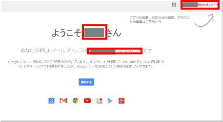 Googleアカウント開設完了画面